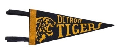 Antique 9 inch Baseball Pennant - Detroit Tigers