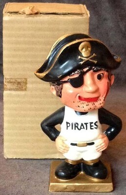 1960's Pittsburgh Pirates Square Gold Base Bobble Head Doll
