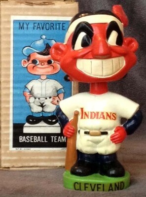 1960's Cleveland Indians Green Base Bobble Head Doll