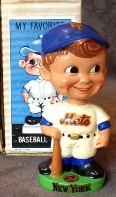 1960's New York Mets Green Base Bobble Head Doll
