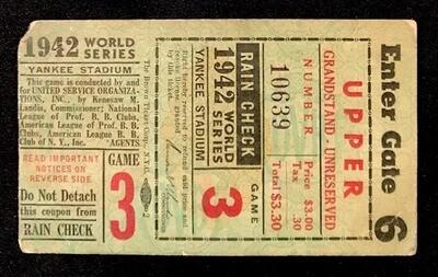 1942 World Series Ticket - Game 3