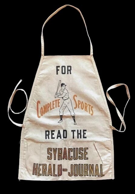 1930 - 1940's Baseball Themed Newsboy Apron for the Syracuse Herald Journal
