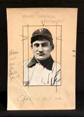 Circa 1905 Honus Wagner Wire Photo