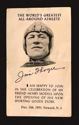 1951 Jim Thorpe Signed Postcard from the opening of Henry Modell's Sporting Goods Store in Newark, NJ