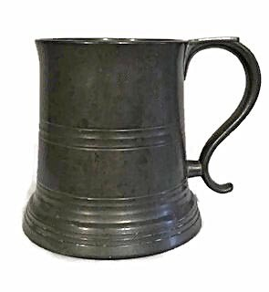 Turn of the Century Pewter Football Stein w/ Painted Bottom