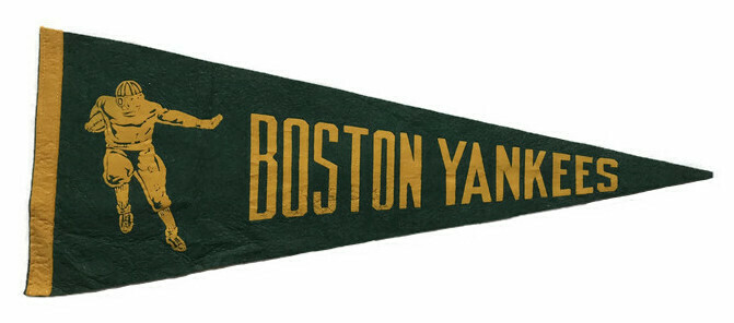 Antique Football Pennant - Boston Yankees