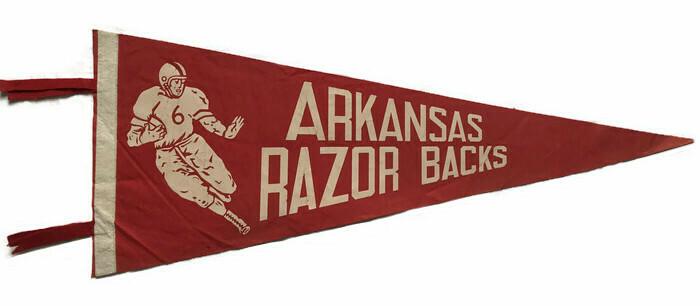 Antique College Football Pennant - Arkansas Razorbacks