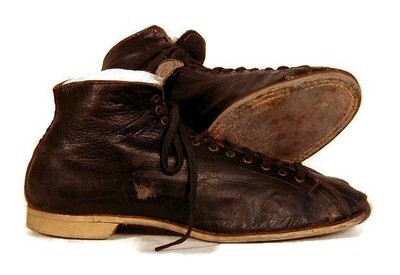 Vintage 1910's Black Leather Basketball Shoes