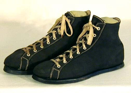 1920's Black Canvas and Rubber Basketball Shoes