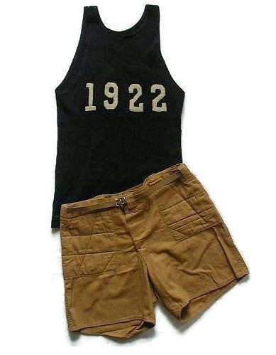 Vintage Basketball Uniform with Quilted Shorts dated 1922