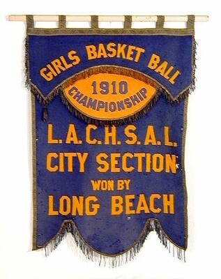 1910 Girls Basketball Championship Banner from LA County