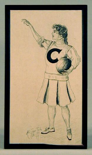 1909 Pen & Ink Image - Cornell University Lady Basketball Player