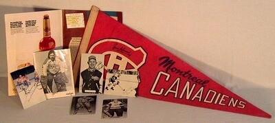 Jean Béliveau signed Canadians Pennant plus others