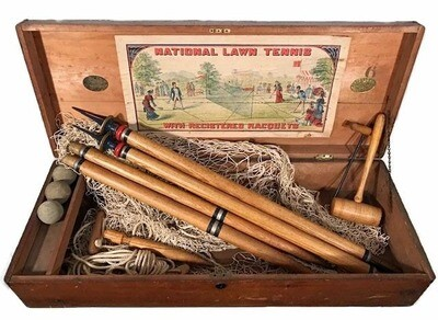 1870's National Lawn Tennis Box Kit with Contents