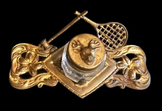 1900's Vintage Tennis Inkwell Stand
