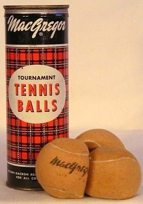 1940-50's MacGregor Metal Tennis Ball Can with Original Balls