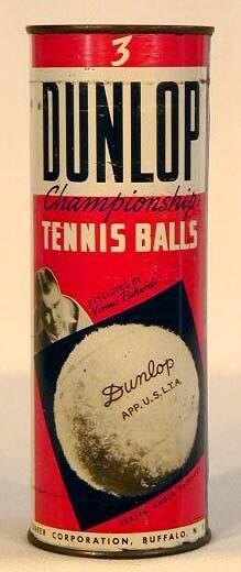 1920's Vinnie Richards, Dunlop Flat-Top Tennis Ball Can UNOPENED
