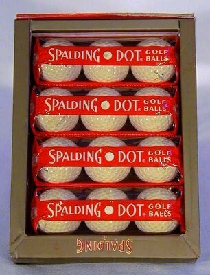 1940-50's One Dozen Spalding Golf Balls in Original Sleeves and Case Box