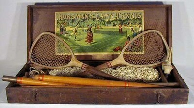 1880's Horsman Lawn Tennis Box - Kit - complete with rackets, posts, net...