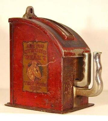 1920's Penny Arcade Grip Strength Test Machine made by Gottlieb
