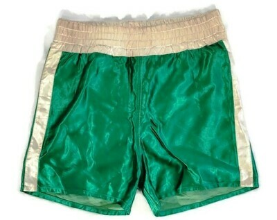 Pair of 1940's Vintage, Green Satin Boxing Trunks