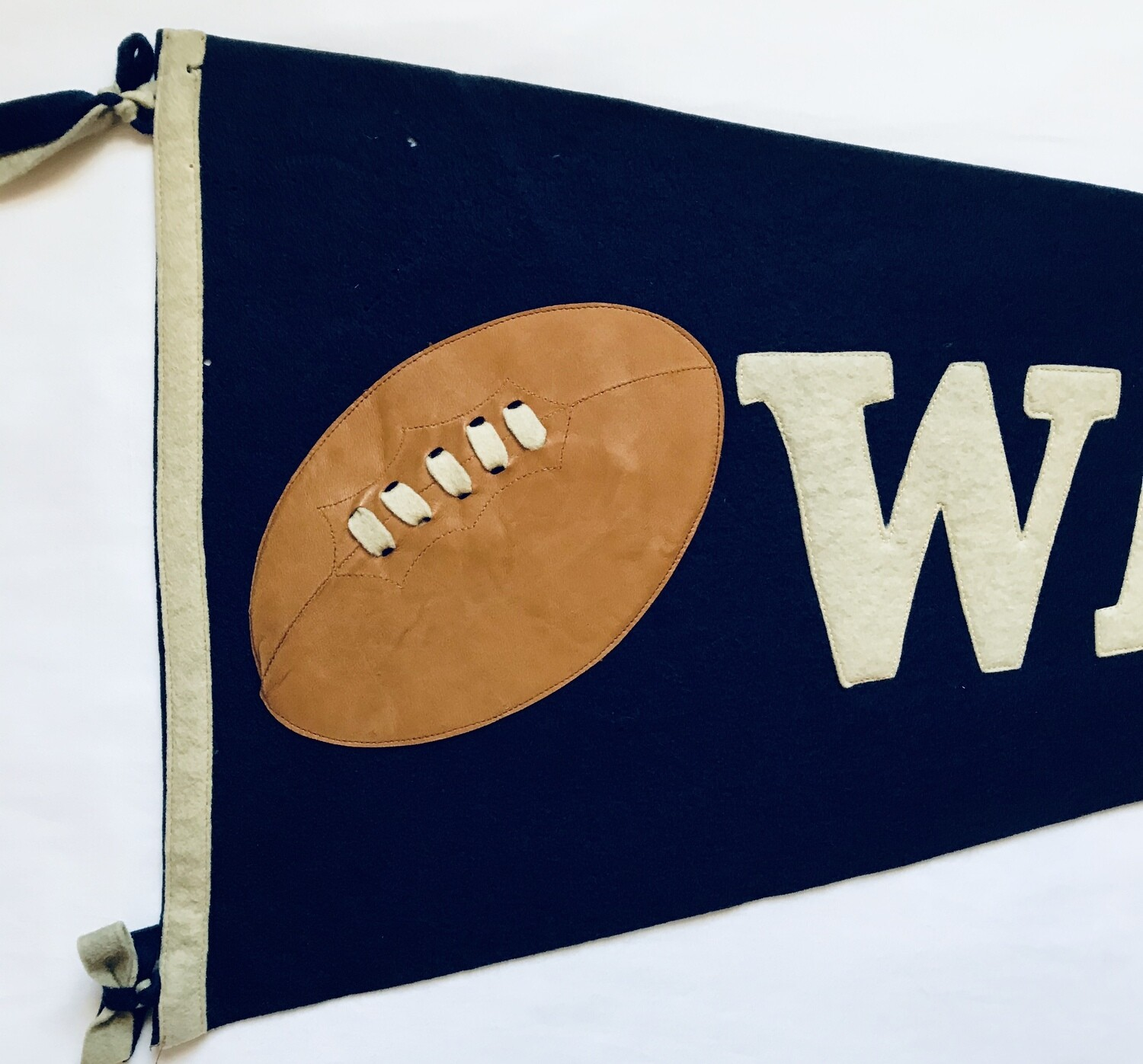1910's Warren Football Pennant with Leather Football