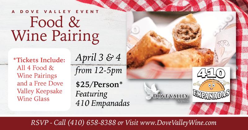 410 Empanadas*Food & Wine Pairing*April 4th*12pm