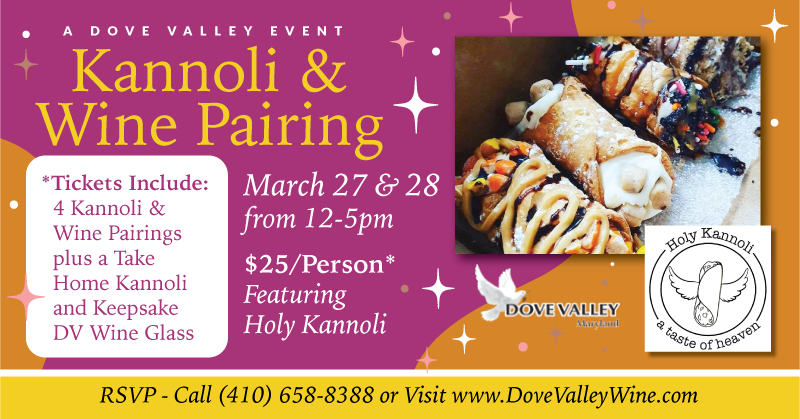 Kannoli & Wine Pairing*March 27th*2pm