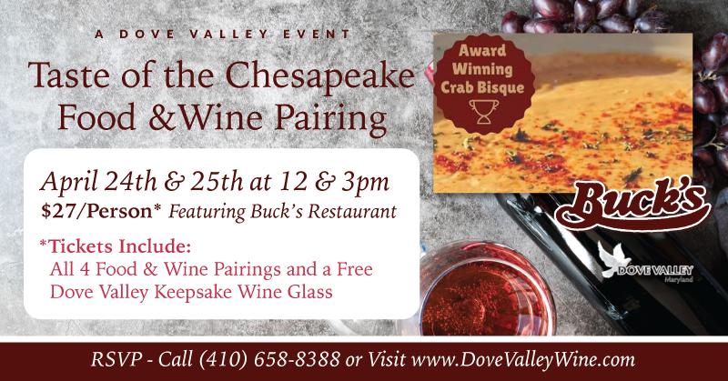 Chesapeake Food & Wine Pairing *April 24th*2pm