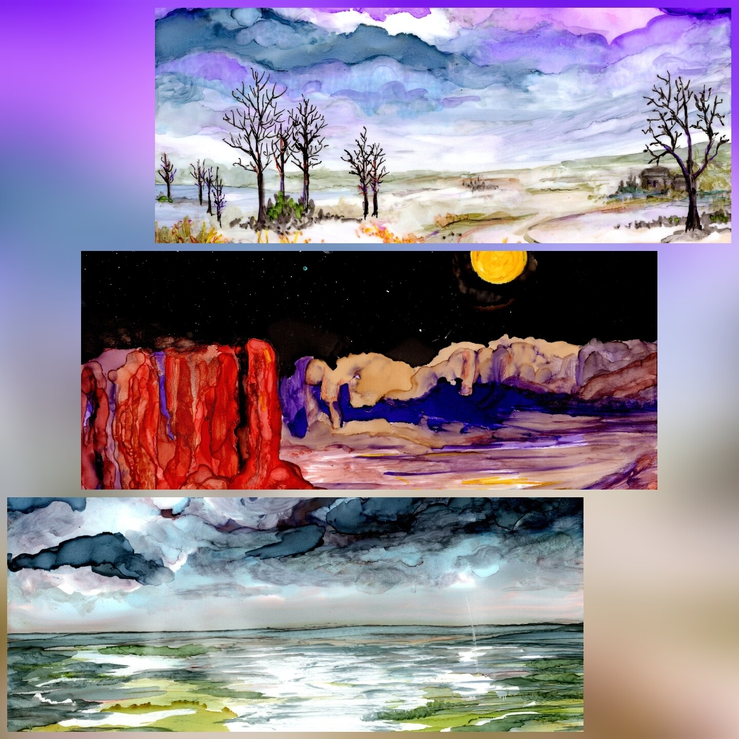 June 5th*2pm Alcohol Inks Landscapes