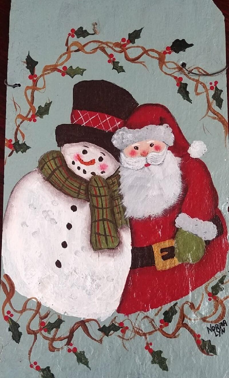 Painted Slate Workshop*Santa & Snowman