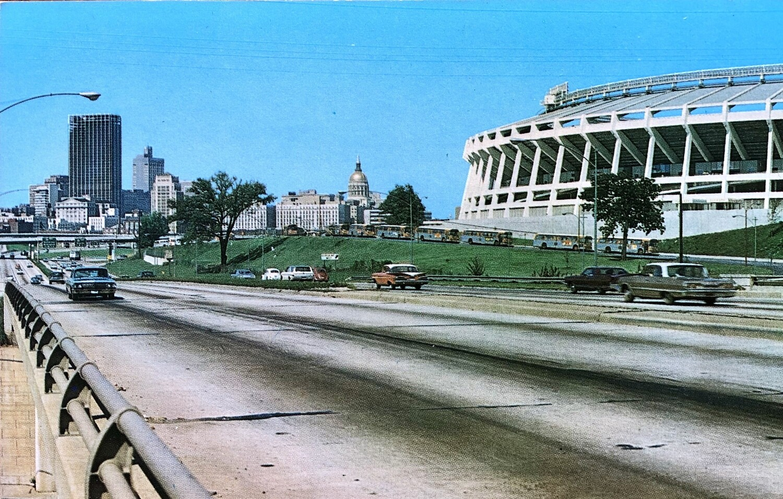 Atlanta Skyline and Atlanta Stadium Vintage Postcard
