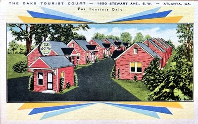 The Oaks Tourist Court Atlanta GA Vintage Postcard