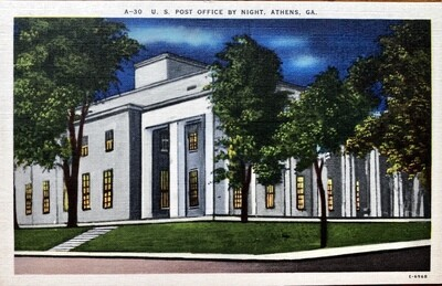 U. S. Post Office by Night Athens GA Vintage Postcard