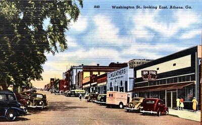 Washington St. Looking East Athens GA Vintage Postcard