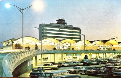 Atlanta Georgia Airport Terminal at Night Vintage Postcard