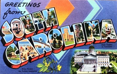 Greetings from South Carolina Vintage Linen Postcard