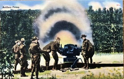 Artillery Firing Military Series Vintage Postcard Tichnor