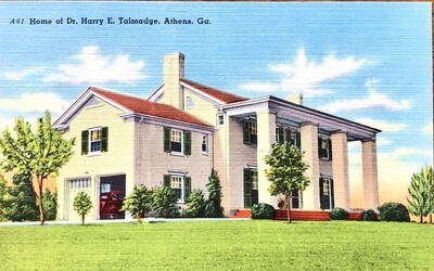 Home of Dr. Harry E. Talmadge Athens GA Vintage Postcard