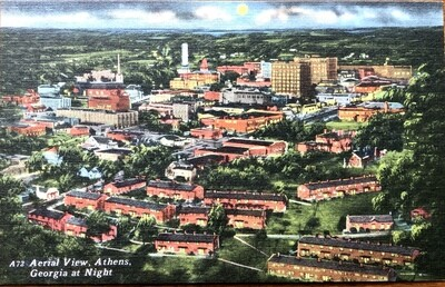 Aerial View Athens Georgia at Night Vintage Postcard