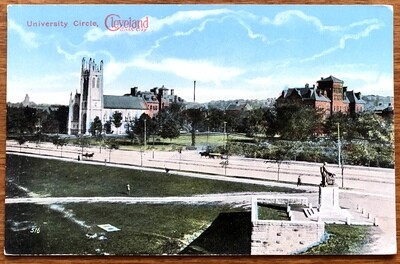 University Circle Cleyeland Sixth City Vintage Postcard