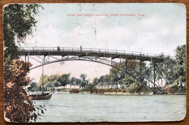 High Bridge Lincoln Park Chicago Ill Early 1900s Postcard