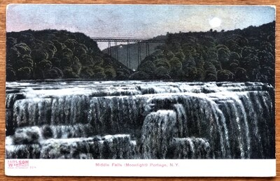 Middle Falls Moonlight Portage NY 1910 Vintage Postcard