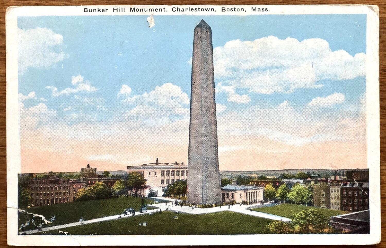 Bunker Hill Monument Charlestown Boston Mass Postcard