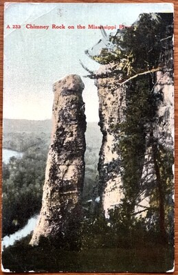 Chimney Rock on the Mississippi River 1911 Postcard