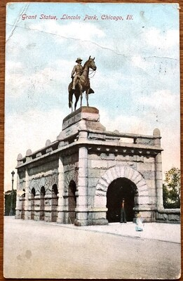 Grant Statue Lincoln Park Chicago Illinois 1908 Postcard