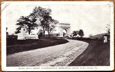Mass. Monument Washington Memorial Arch Valley Forge PA 1916