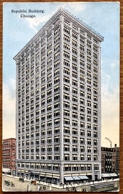 Republic Building Chicago 1916 Vintage Postcard