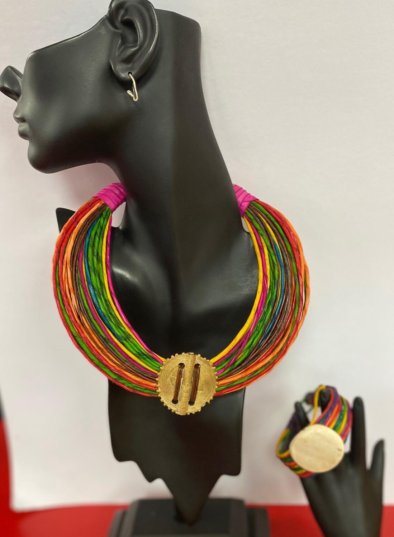 Cameroon Necklace & Bracelet Set (choose color)
