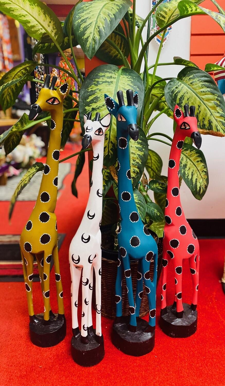 Olive Wood Painted Giraffes of Zimbabwe (3 feet) (choose color)